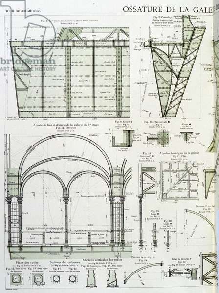 Frame of the gallery on the first floor of the Eiffel Tower - industrial design, 19th century