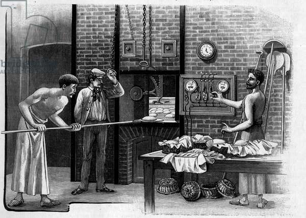 "Electrical heating applications in a bakery: view of cooking in the oven electrically heated. Engraving in """" La Nature: revue des sciences et de leurs applications aux arts et a l'industrie"""" of January 2, 1904."