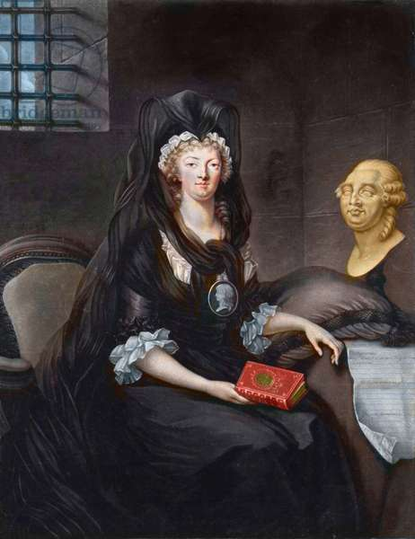 """Portrait of Marie Antoinette (1755-1793) in deep mourning at the prison of the Temple (or """""""" Marie-Antoinette at the Concierge, in mourning, with a cameo, pendant portraying the Dauphin, holding a life of Mary, Queen of Scots, a bust of Luis XVI and the Testament of 23 December 1792 on the draped table beside""""). after Alexander Kurcharsky (1741- 1819)"""