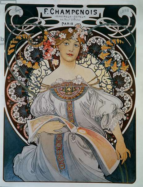 Advertising for the printer-publisher F. Champenois - by Mucha, 1898.