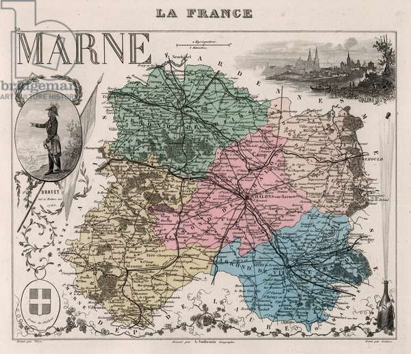 La Marne (51) and Champagne Ardennes (Champagne-Ardennes) - France and its Colonies. Atlas illustrates one hundred and five maps from the maps of the depot of war, bridges and footwear and the Navy by M. VUILLEMIN. 1876.