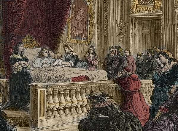 "Death of Louis XIV at Versailles, September 1, 1715 - Death of the King of France Louis XIV - Presented by his governess, Madame de Ventadour (Charlotte de la Mothe Houdancourt, 1654-1744), the Duke of Anjou, future Louis XV, said farewell to Louis XIV, the Sun King (King or Louis the Great, 1638-1715), before Francoise Aubigne, Marquise de Maintenon said Madame de Maintenon (1635-1719). engraving from """" L'histoire de France racontee à mes grandenfants"""" - by Francois Guizot - 1872-1876"