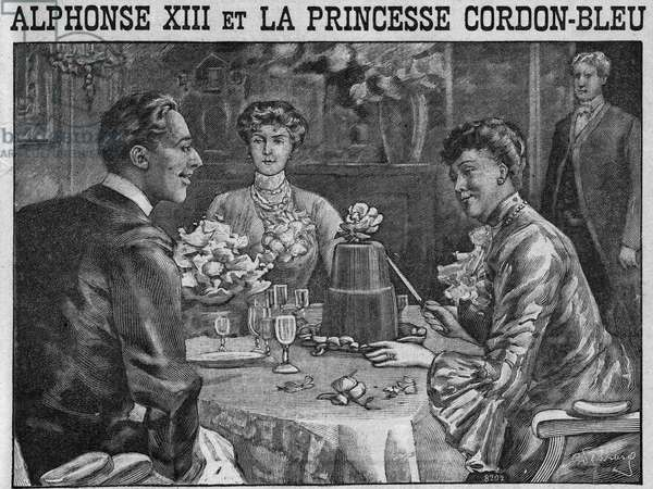 """Alfonso XIII and Princess Cordon Bleu: Princess Beatrice of Battenberg (1857-1944) proving her good cook at dinner with her spousal King Alfonso XIII. Both of them are apprehended to eat a pudding. Engraving In """""""" The kitchen of families"""""""" from 1905-1908."""