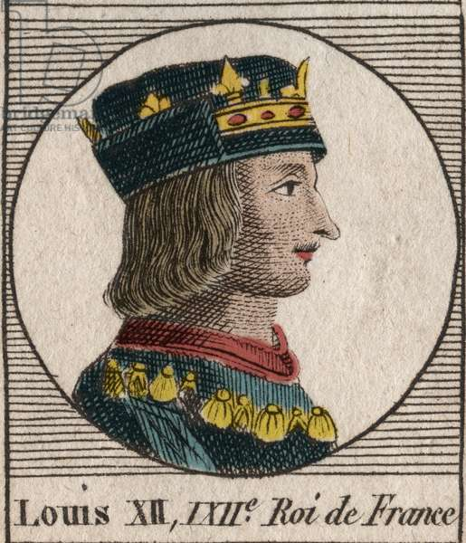 """Portrait of King Louis XII (1462-1515) - Portrait of Louis XII of France (1462-1515), King of France - engraving from """"Instruction sur l'Histoire de France"""" by Charles Constant Le Tellier 1821"""