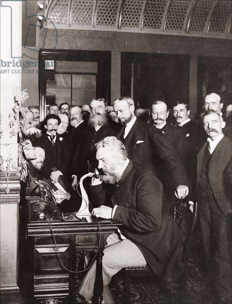 Alexander Graham Bell (1847-1922) at the opening of the New York Long-haul Line to Chicago, 18 Oct. 1892