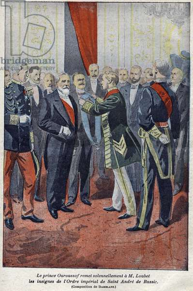 Prince Nicholas Ourusof solemnly presents to Emile Loubet the insignia of the Imperial Order of Saint Andre of Russia in 1900.