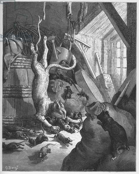Le chat et un vieux rat - The cat and an old rat - from 'Fables' by Jean de La Fontaine (Lafontaine) (1621-95) - engraving after Gustave Dore (1832-83) - Private collection