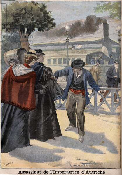 Assassination of Impress Elisabeth of Austria (Sissi) by an Italian anarchist in Geneva, 1898 - The Assassination of Empress Elisabeth of Austria (Sissi) by Italian anarchist Luigi Lucheni, in Geneva, 1898, Engraving,