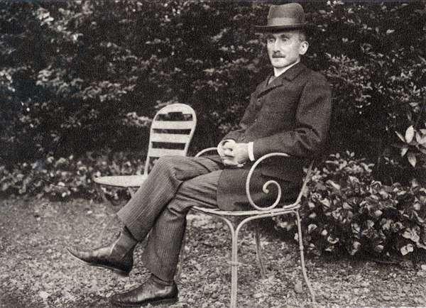 Henri Bergson (1859-1941), French philosopher, in his garden.