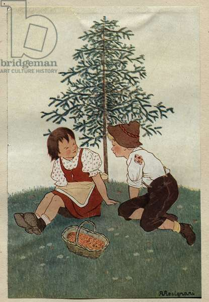 """Two children near a pear tree, who cannot give pears, makes the fortune of an old turner in poverty and his family, who manages to make pear shaped umbrellas thanks to the wood of the tree, the two children of the umbrella manufacturer have a basket of coins near them Illustration by Angela Resignani for the new """""""" Happiness can be found in a piece of wood"""""""" in """""""" meravigliosi racconti"""""""" (The fantastic news) by Hans Christian ANDERSEN (1805-1875), Danish novelist and poet, famous for his fee tales. 1945. Private collection. DR"""