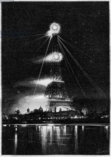 "1889 Universal Exhibition: the Eiffel Tower burned by Bengal flames on the evening of the opening of the exhibition, May 6, 1889. Engraving in """" La Nature. Revue des sciences et de ses applications aux arts et a l'industrie"", 1889."