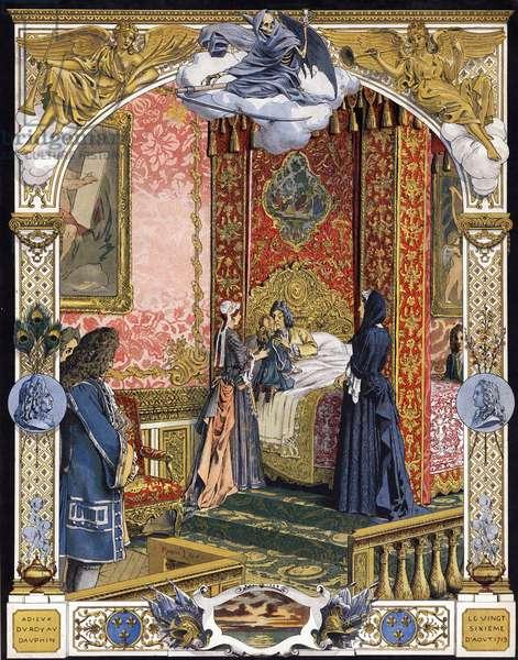 "Presented by his housekeeper, Madame de Ventadour (Charlotte de la Mothe Houdancourt, 1654-1744), the Duke of Anjou, future Louis XV, said farewell to Louis XIV, known as the Sun King (King Soleil or Louis the Great, 1638-1715), before Francoise d'Aubigne, Marquise de Maintenon (1635-1719). Chromotypography in """" Le Roy Soleil"""" (Louis XIV) by Gustave Toutwelve, Illustration by Maurice Leloir (1853-1940), 1904. Privee Collection."