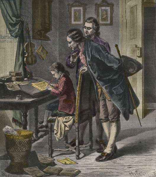 Wolfgang Amadeus Mozart writing a concerto in the presence of his father, Leopold, illustration from 'La Musique Populaire', 1882 (coloured engraving)