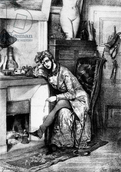 Far niente drawing by Gavarni, 1825.