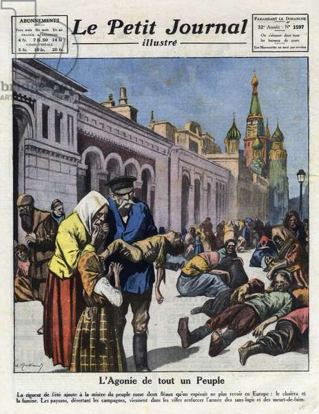 """Famine and cholera deciment the Russian rural population who are trying to survive in the cities from """"Le petit journal illustré"""" of 01/08/1921 (engraving)"""