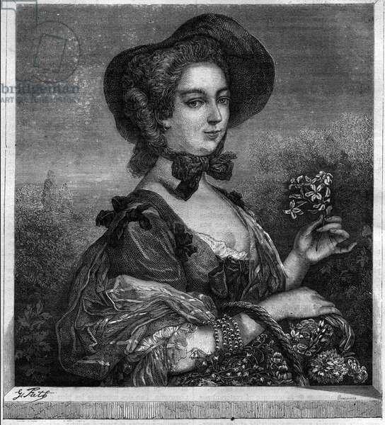 "Portrait of Jeanne Antoinette Poisson, Marquise of Pompadour (known as Madame de Pompadour, 1722-1764) mistress of King Louis XV. Engraving in ""Histoire des Papes-Rois-Queen and Empereurs a travers les centuries"""" by Maurice Lachatre, 1863."