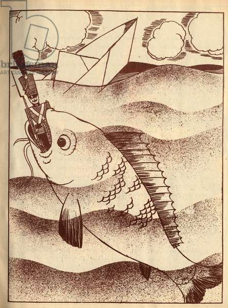 """The lead soldier swallows by a fish. Anonymous engraving in """""""" The intrepide soldier of lead"""""""", tale by Hans Christian Andersen (1805-1875), 1940."""