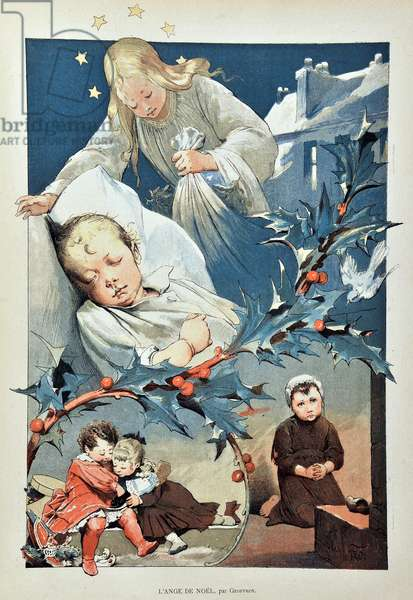 """The angel of Christmas. Illustration by Jean GEOFFROY (1853-1924) Engraving of 1887 in """""""" Paris-Illustrous journal weekly""""""""."""