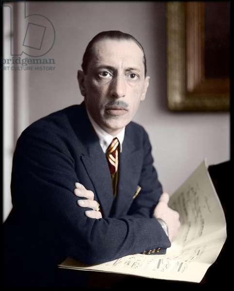 Igor Stravinsky, Russian composer (1882-1971) - Photo, c1927 digitally colourised