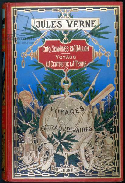 "Cover ""Five weeks en balloon - Voyage au centre de la terre"" by Jules Verne, ed. Hetzel, 19th century"