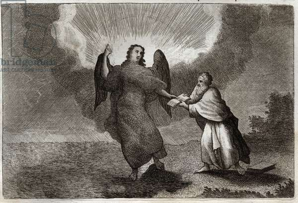 Royaumont Bible, New Testament: Vision of Saint John. Vision of the Angel with an Open Book gives Saint John to devour him. Illustration from 1811.