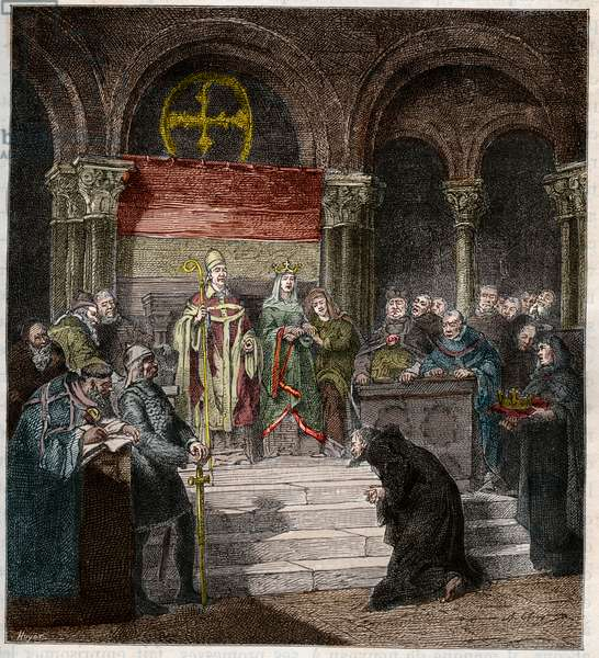 Emperor Henri IV (1050-1106) at the feet of Pope Gregory VII (1020-85) (coloured engraving)