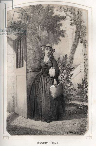 "Portrait of Charlotte Corday (1768 - 1793). in """" Les femmes illustres de la France"""" by Countess DROHOJOWSKA. ILLUSTRES OF DRUTS OF MM JULES AND BAYALOS. circa 1850."