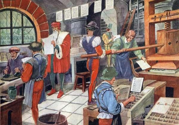 Johannes Gutenberg (1400-1468), German printer, and his print press.