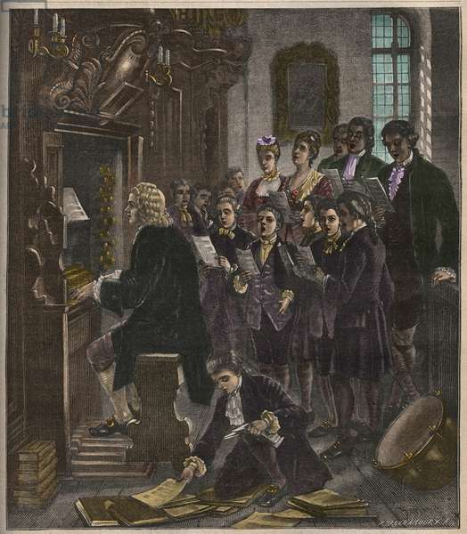 Johann Sebastian Bach playing the organ at the St Thomas School, Leipzig, illustration from 'La musique populaire', 1882 (colour litho)
