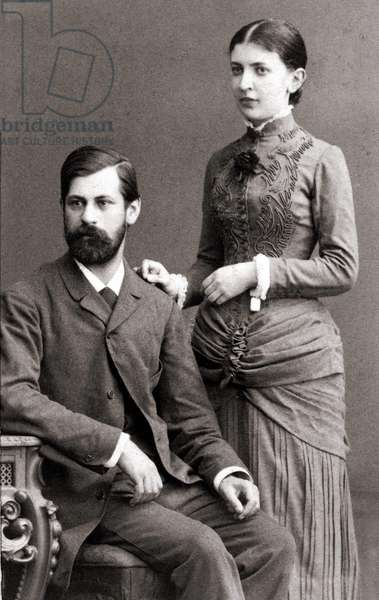 Sigmund Freud and his wife Bernays Martha in June 1885.