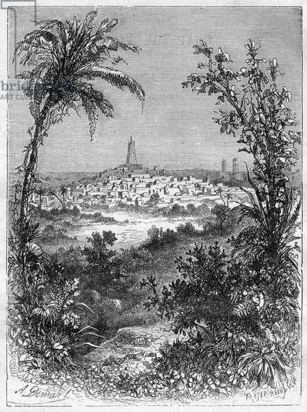 """View of Timbuktu (Mali) in the middle of the 19th century - Engraving in """""""" Picturesque Histoire des grands voyages au nineteenth century"""""""""""". 1877"""