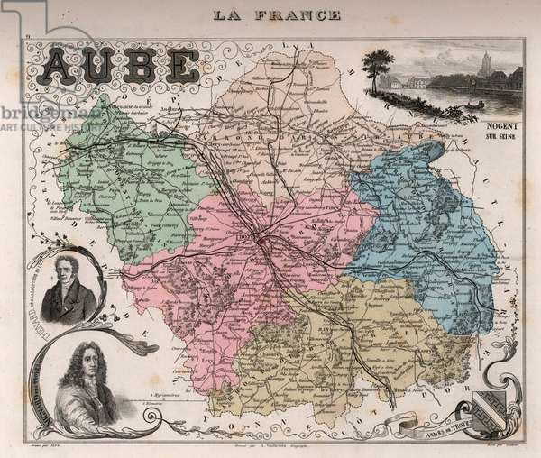 Département de l'Aube (10), Champagne Ardennes (Champagne-Ardennes) - France and its Colonies. Atlas illustrates one hundred and five maps from the maps of the depot of war, bridges and footwear and the Navy by M. VUILLEMIN. 1876.