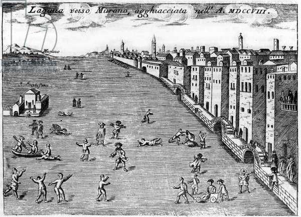 """Venice, Italy. The lugune towards Murano ice in 1708 in """""""" Singolarita di Venezia"""""""" by Vincenzo Coronelli (1650-1718)."""