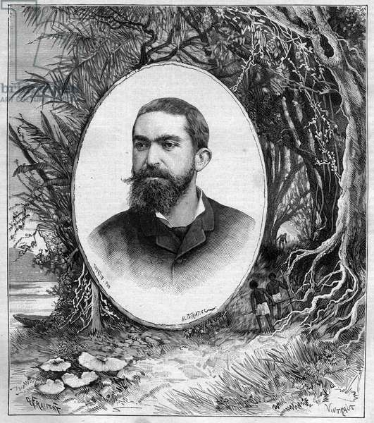 Portrait of Henri Coudreau (1859-1899), professor of geography and explorer of the Amazon (Brazil) - engraving in journal des voyages 1889