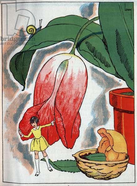 "Stroller under a leaf near his bed in a walnut. Engraving by Leroy in ""La petite stroller"", tale by Hans Christian Andersen (1805-1875), 1940"