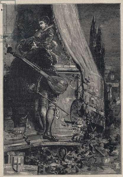 Lucrezia Borgia and Don Gaspare Aversa, count of Procida - engraving from 'Lucrezia Borgia' by Oscar Pio - 1883