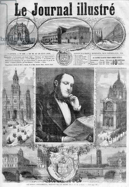 "Baron Georges Eugene Haussmann, prefet of the Seine in 1868 - cover of the ""Illustrous Journal"" of 1868"
