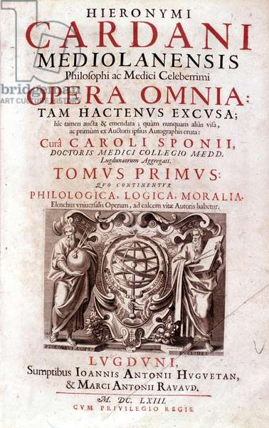 Frontispice of Opera omnia by Gerolamo Cardano (Jerome Cardane) (1501-1576) Italian doctor, mathematician, philosopher and astrologer - 1653