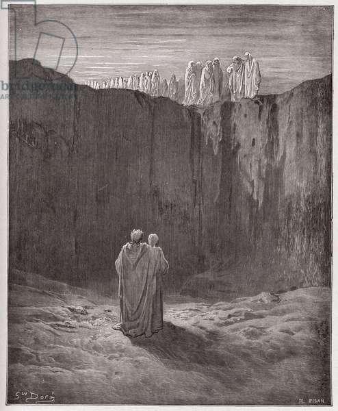 The Divine Comedy (La Divina Commedia, La Divine Comedie), Purgatorio, Canto 3: The company of souls upon the cliff - by Dante Alighieri (1265-1321) - Illustration by Gustave Dore (1832-1883), 1885