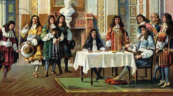 King Louis XIV (1638-1715) received comedian and playwright Jean Baptiste Poquelin dit Moliere (1622-1673) during a breakfast in the presence of the court at the castle of Versailles. Chromolithography around 1900.
