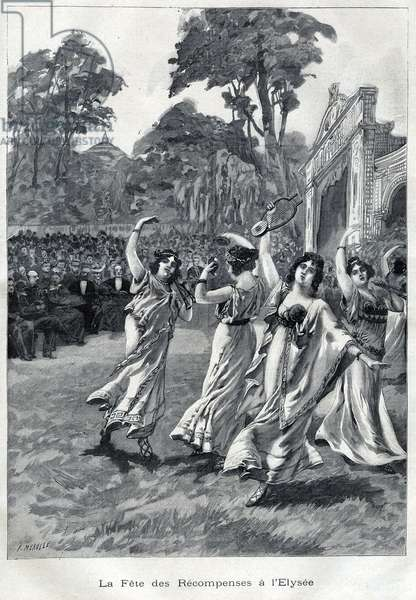 """The feast of awards at the Palais de L'Elysee in September 1900 in the presence of President Emile Loubet - in """""""" Le Peute Parisien"""""""", 1900."""