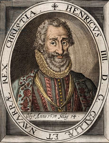 Portrait d' Henri IV (1553-1610) roi de France - gravure du 17eme siecle - Portrait of Henry IV (1553-1610) King of France -