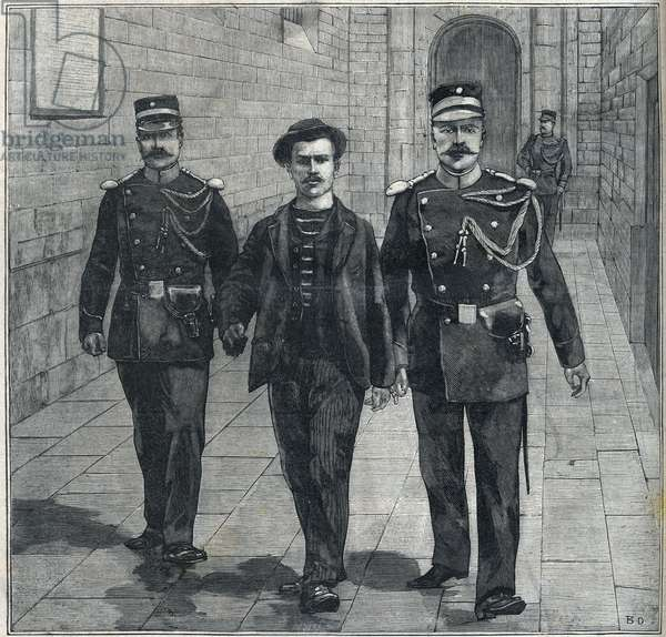 the Italian anarchist Luigi Luccheni (Lucheni) assassin of the Impress Elizabeth of Austria (Sissi) brought to the Court of Justice in 1898.