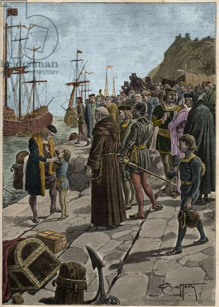 Departure of Christopher Columbus (Christopher Columbus, Cristoforo Colombo, 1451-1506) and his companions from the port of Palos in Spain August 3, 1492 - Departure of Columbus and his expedition from Palos, Spain, 1492.