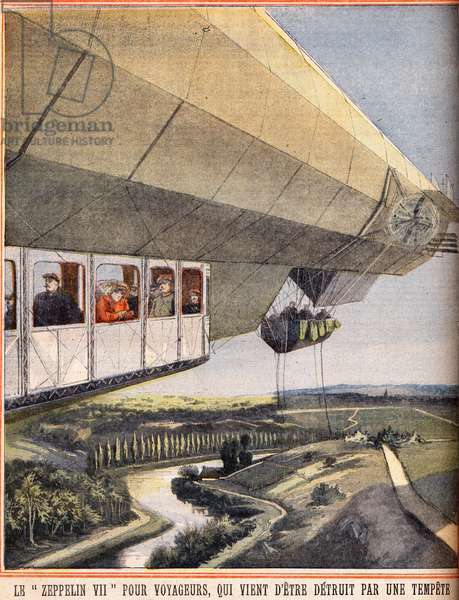 """Zeppelin VII for travelers that has just been destroyed by a storm. Engraving in """""""" Le petit parisien"""""""" on 10/07/1910. Private collection."""