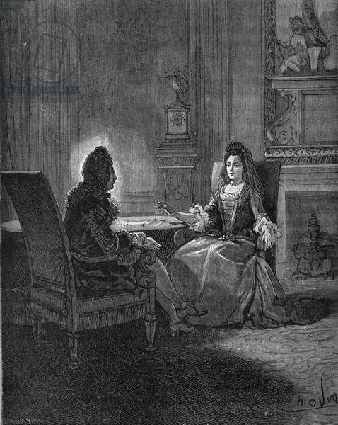 "King Louis XIV (1638-1715) talking with his future wife, Madame de Maintenon (Francoise d'Aubigne, Marquise de Maintenon) (1635-1716). Engraving of the 19th century. In ""Histoire de France"" by Jules Michelet, 1870."