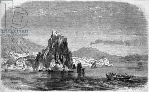 "View of the rocks of """" Charybde"""" and """" Scylla"""" in the Detroit of Messina, Sicily, 1860. Engraving in """" Le Monde Illustrous"""" n°175 of 18 August 1860."