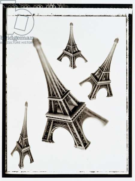 Symbol of Paris and France: Still life with miniature Eiffel Tower. Black and White Photography