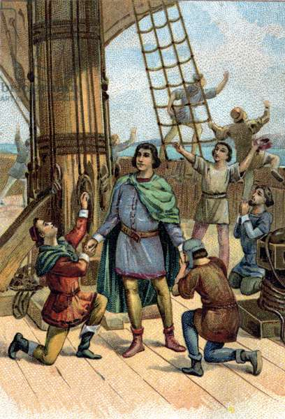 Discovery of America by Christopher Columbus (Cristoforo Colombo) in 1492.