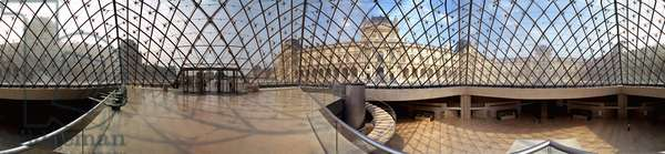 Interior of the pyramid of the Louvre Museum (photo)
